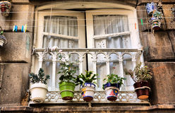 Ventana vieja de Vigo, España Foto de archivo libre de regalías