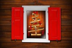 Ventana y árbol de navidad stock de ilustración