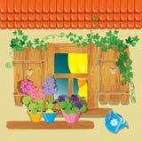 Ventana y flores en potes libre illustration