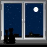 Ventana y gatos nocturnos. Vector. Fotografía de archivo libre de regalías