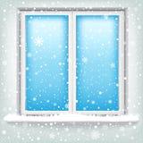 Ventana y nieve ilustración del vector