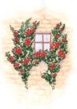 Ventana y pared de la acuarela con subir rosas rojas Imagen de archivo