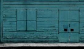 Ventana y puerta de la turquesa Imagen de archivo libre de regalías