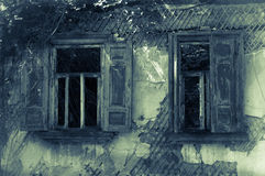 Ventanas abandonadas viejas de la casa Imagenes de archivo