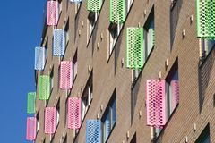 Ventanas coloridas, ciudad de Leeds imagen de archivo