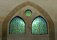 Ventanas de cristal manchadas árabes Fotografía de archivo