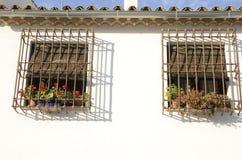 Ventanas de la parrilla en la pared blanca Foto de archivo