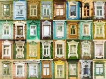 Ventanas de la variedad de la ciudad rusa Rostov Imagen de archivo libre de regalías