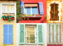 Ventanas francesas tradicionales Imagen de archivo libre de regalías