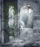 Ventanas góticas con las vides Foto de archivo