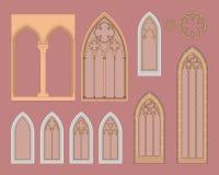 Ventanas góticas en Central Europe Imagen de archivo libre de regalías