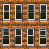 Ventanas inconsútiles del withl de la pared de ladrillo, fondo. Fotografía de archivo