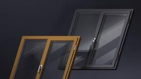 Ventanas modernas de madera y negras fotografía de archivo libre de regalías