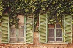 Ventanas viejas con los marcos imágenes de archivo libres de regalías