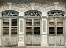Ventanas viejas de la herencia, Penang, Malasia Fotografía de archivo libre de regalías