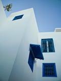 Ventanas y árbol tunecinos tradicionales en la azotea Foto de archivo