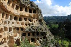 Ventanillas de Combaya, cemetry gammal pre inca, nordliga Peru arkivbild