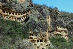 Ventanillas de Combaya, vieil pré Inca cemetry, Pérou du nord Image stock