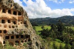 Ventanillas de Combaya, vieil pré Inca cemetry, Pérou du nord Images libres de droits
