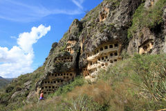 Ventanillas de Combaya, vieil pré Inca cemetry, Pérou du nord Photos stock