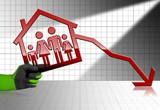 Ventas de disminución de Real Estate - gráfico con la casa Imagen de archivo