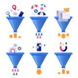 Ventas de la generación del embudo Generaciones de la ventaja del negocio, embudos del clasificador de correo y concepto del vect libre illustration