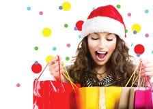 Ventas de la Navidad Mujer sorprendida imágenes de archivo libres de regalías
