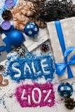 Ventas el días de fiesta de la Navidad y del Año Nuevo Imágenes de archivo libres de regalías