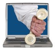 Ventas en línea, ayuda del teléfono de la tecnología, comercialización Foto de archivo libre de regalías