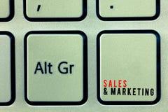 Ventas y márketing del texto de la escritura de la palabra Concepto del negocio para vender el planeamiento sistemático del produ fotos de archivo