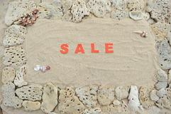 Vente écrite en sable Photos stock