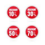 Vente Étiquettes de prix discount Discou sphérique de label d'autocollant de cercle Illustration Libre de Droits