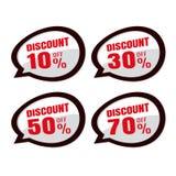 Vente Étiquettes de prix discount remise 10% 30% de label d'autocollant de la parole Image libre de droits