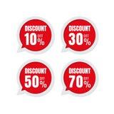 Vente Étiquettes de prix discount remise 10% 30% de label d'autocollant de la parole illustration stock