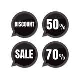 Vente Étiquettes de prix discount remise 50% 70 de label d'autocollant de la parole Images stock