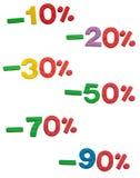 Vente, 10 à 90 % hors fonction Images stock