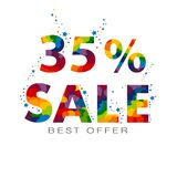 vente au rabais de 35 pour cent Trente-cinq pour cent Élément de conception de vente illustration stock