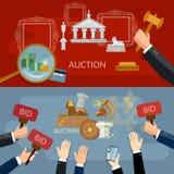 Vente aux enchères et bannières d'offre vendant des antiquités illustration libre de droits
