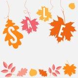 Vente avec des feuilles d'automne. Vecteur Photographie stock libre de droits