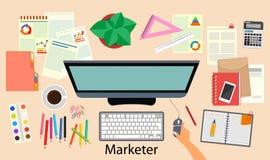 vente bureau Le négociant de lieu de travail La vue à partir du dessus Illustration de vecteur illustration de vecteur