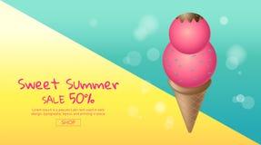 Vente chaude d'été, bande dessinée, crème glacée colorée, conception de disposition, Images libres de droits
