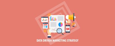 Vente conduite par données - stratégie marketing numérique - analyse de données, l'information, recherche, concept social de medi illustration de vecteur