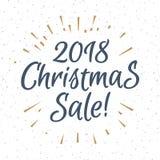 Vente 2018 consistante de Noël de signe de label de salutation de Noël avec le rayon de soleil d'or illustration stock