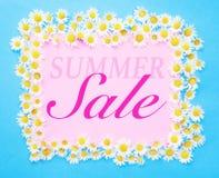 Vente d'été écrite sur le fond rose et bleu avec des marguerites Photo libre de droits