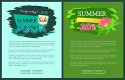 Vente d'été avec 35 et 30 pour cent outre de promotionnel illustration libre de droits