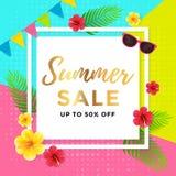 Vente d'été avec la conception géométrique abstraite d'affiche Images stock