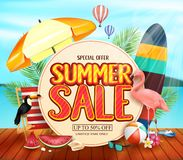 Vente d'été avec le cercle jaunâtre pour le texte avec des palmettes, parapluie, planche de surf, flamant, toucan, pantoufles, illustration libre de droits