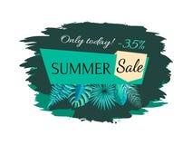 Vente d'été avec 35 outre seulement aujourd'hui de l'emblème de promo illustration stock