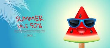 Vente d'été, bande dessinée, crème glacée, visage, conception de disposition, saluant Photo libre de droits