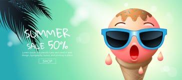 Vente d'été, bande dessinée, crème glacée, visage, conception de disposition, saluant Photographie stock libre de droits